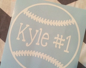 Baseball Car Decal with Name and Number