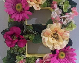 Floral Moss Letter - Purple, Green, Cream and Yellow