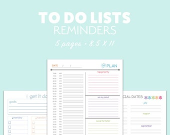 TO DO List Daily Planner Printable Organize SCHEDULE Calendar pdf - Instant Download - Day Planner diy