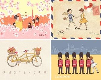 Children's Wall Art Prints - Children Around the World SET (4 - 8x10s) - Kids Nursery Room Decor