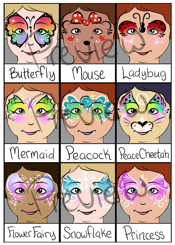 Simple Face Painting Chart Halloween