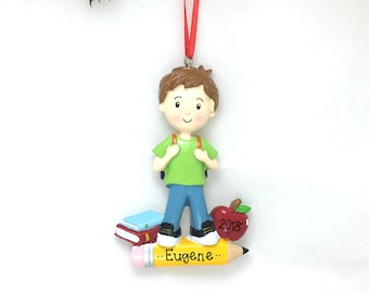 First Day of School Personalized Christmas Ornament / Little Boy / School Ornament/ Hand Personalized