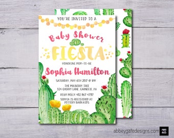 Fiesta Baby Shower Invitation, Baby Shower Invitation, Cactus Baby Shower Invitation, Fiesta Invitation, Cactus Invitation, Girl Baby Shower