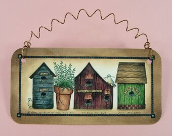 BIRDHOUSE PRIM SIGN Metal Country Folk Art Homespun Cute Decorative For Wall Wreath Desk Gift Giving Welcome Friends Home Sweet Home