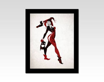 DC Comics inspired Classic Harley Quinn holding Batman's mask print