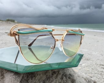 Sky Yellow & Blue Cat Eye Sunglasses Women, Turquoise Gold Wire Wrapped Artisan Sunnies, Spunglasses, Every pair is a piece of art, NEW