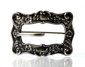 Antique Sterling Silver Sash Pin Buckle Brooch Botanical Jewelry