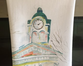 Oxford MS Courthouse, Tea towels, flour sack towels, Mothers day gifts, gifts for her, Ole Miss, kitchen towels, kitchen linens, bar towels