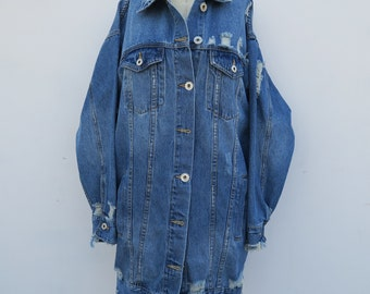 0855 - Distressed Denim - Oversized Jacket