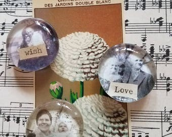 Glass bubble magnets with vintage images