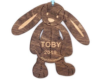 Stuffed Bunny Wood Ornament