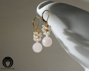 Rose quartz cluster earrings with 14K gold filled lever back ear wire