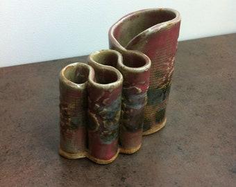 Vintage Rockcliffe Pottery - Pen Pencil Holder - Desk Accessory - Makeup Brush Holder - Pottery Art