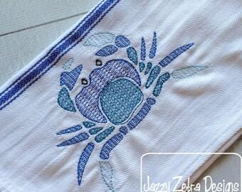 Crab Color Motif Fill Embroidery Design - crab Embroidery Design - beach Embroidery Design - summer Embroidery Design
