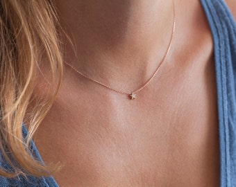 Rose Gold Necklace, Star Necklace, Gold Star Necklace, 14k Rose Gold Necklace, Simple Gold Necklace