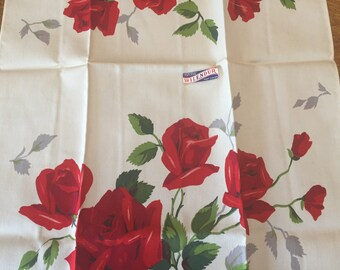 UNUSED Wilendur Royal Rose Kitchen Towel with Paper Label, 1950's Vintage Red White Printed Cotton, Small Table Runner