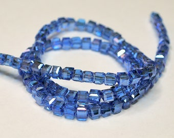 20 pcs 4mm Faceted Transparent Medium Blue Glass Cube Beads   C/TMB