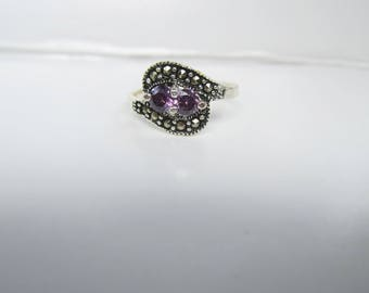 Sterling Silver and Amethyst Ring with Marcasites- Size 6 1/2   1853D