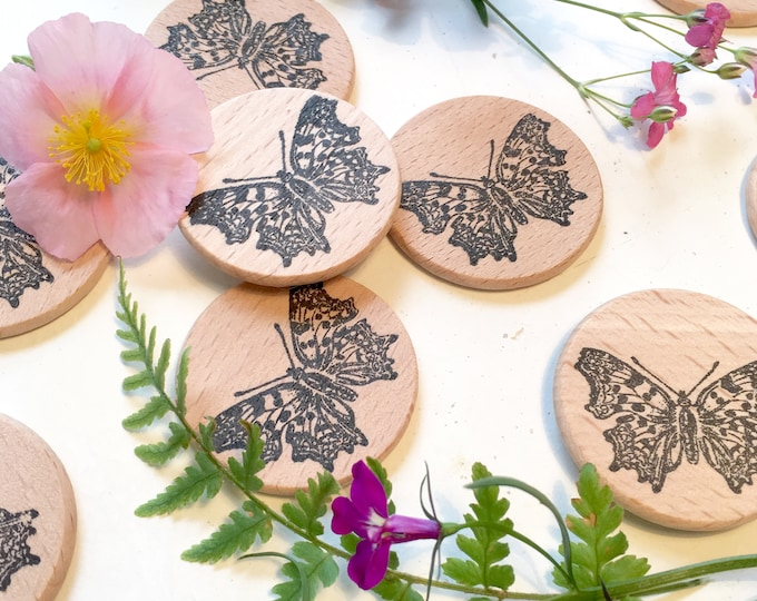 Butterfly Clear Rubber Stamp - Butterfly Stamp  - Polygonia C-Album Clear Rubber Stamp -  Butterfly Wooden Stamp - Little Stamp Store