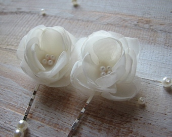 Ivory hair flower 2 inch hair flower Wedding ivory hair flower Ivory hair piece Ivory hair clip Wedding ivory flower Wedding ivory hair pin