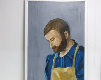 NEW: Portrait painting of a man - title Nick - realistic - original one of a kind - acrylics on thick paper