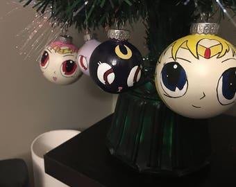 Sailor Moon and Luna Christmas ornaments