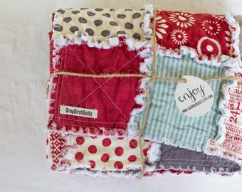 Baby Rag Quilt   Throw Blanket   Rag Quilt   Baby Blanket   Red and Gray   Polka Dots