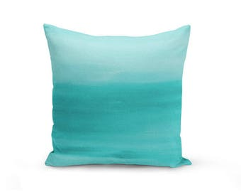 "Teal Throw Pillow Cover, Decorative Pillow, Cushion Cover, Home Decor, Ombre Teal Decor, Lumbar, Euro Sham 16"" 18"" 20"" 26"""
