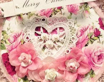 Victorian Ornament, Christmas Ornament, Heart Ornament,  Flower Ornament, Paper Ornament, Pink