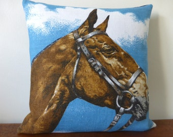 Horse Cushion Cover Equestrian Pillow Riding Upcycled Irish Linen Tea Towel Repurposed Tea Towel Cushion Horse Lover Gift Horse Riding