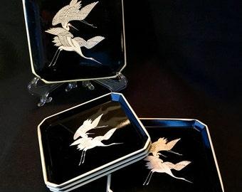 Trifles Black Lacqure Coasters set of 6 Japan