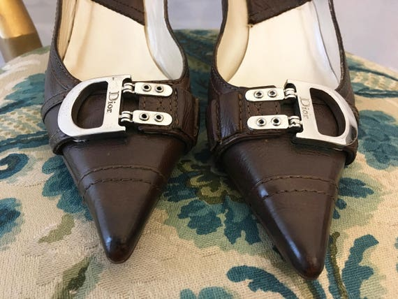 Pointed CD Chic Size Brown Leather Pumps High Shoes Shoes Vintage Heels Shoes Fashion 6 Woman Buckle toe Shoes Dior PICqEW7wn