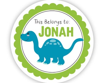 Name Tag Labels - Lime, Blue Green Dino, Prehistoric Dinosaur Personalized Name Label Stickers - Round Tags - Back to School Name Stickers