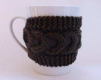 Knitted Green Mug Cozy, Mug Warmer, Mug Hug