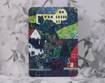 Metal Gustav Klimt Light Switch Cover - Houses at Unterach on the Attersee - Art Nouveau - 1T Single Toggle - Single Gage Light Switch