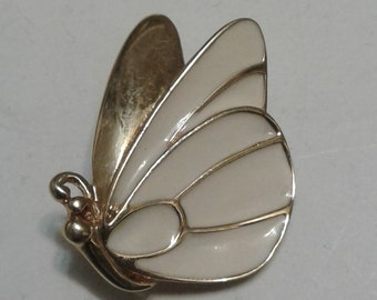 Monet Gold Tone and Enamel Butterfly Pin