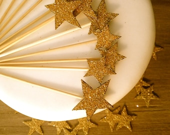 Cupcake Toppers, Star - Great Gatsby Decor, Hand Cut and Glittered, Set Of 12  Gold Picks