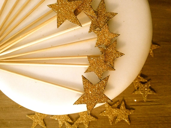 Gold Star Cupcake Toppers. Art Deco Wedding Decor. Star Picks. Set of 12