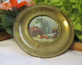 Wall Plate Brass Vintage 1950s Round Plaque Kitchen Table View Pitcher and Strawberries Made in England Country or Victorian Decor Wall Art