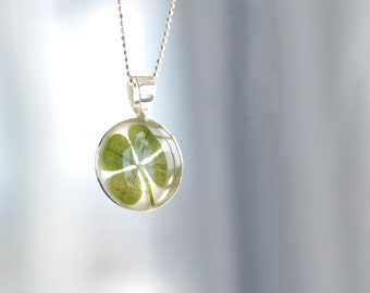 Four leaf clover necklace - lucky 4 leaf clover charm gift - green St. Patricks Day jewelry
