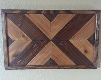 Repurposed Wooden Geometric/Chevron Wall Art, Framed