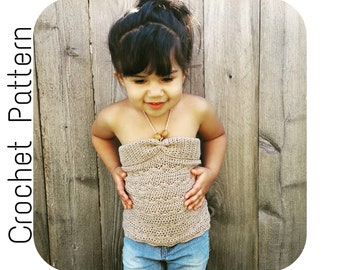 Crochet PATTERN | Halter Top Crochet Pattern | Girls Summer Shirt Crochet Pattern | Tank Top Crochet Pattern for Girls | Summer Crochet