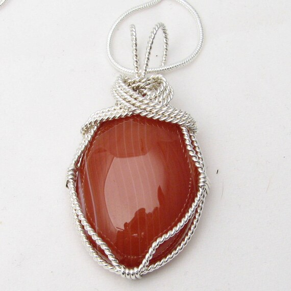 Handmade Solid Sterling Silver Wire Wrap Sardonyx Cabochon Pendant