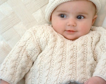0-4m 4-8m KNITTING PATTERN  baby sweater  'mini cable'