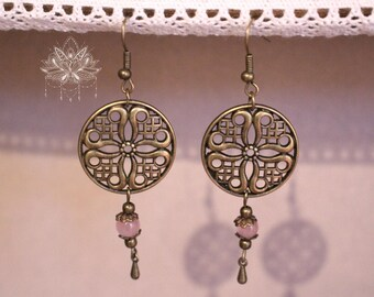 "Ethnic boho earrings bronze and glass ""Mulla"""