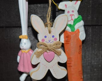 """Easter Bunny ornaments / set of 3 / 1980s / carrot bunny / 6"""" / bunny heart / 3"""" / bunny long ears / 5.5"""" / bunny ornaments / Easter"""