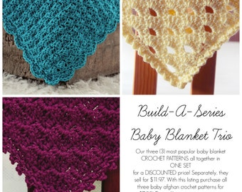 SALE CROCHET PATTERNS Baby Blanket Trio 3  in one Afghan Newborn Beginner Build A Series