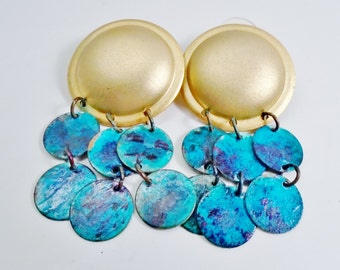 "Vintage Earrings Big Patina Aqua Beach Brushed Gold Dome 2 3/4"" Dangles 80's Diva Runway Retro Bluegreen Coin Belly Dancer Statement"