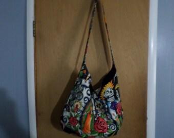 Handmade Contigo/Skulls/Cross Body Xlarge Hobo bag/Diaper Bag/Flea Market Bag