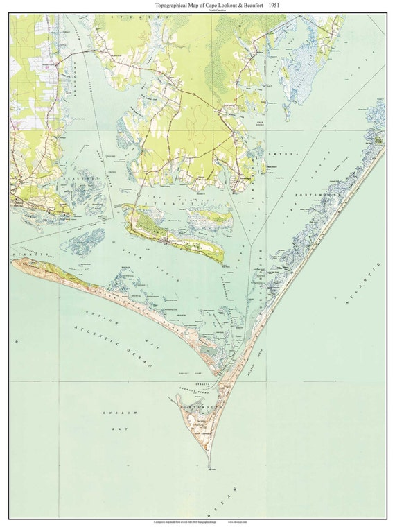 Cape Lookout Beaufort 1951 Old Topographic Map USGS
